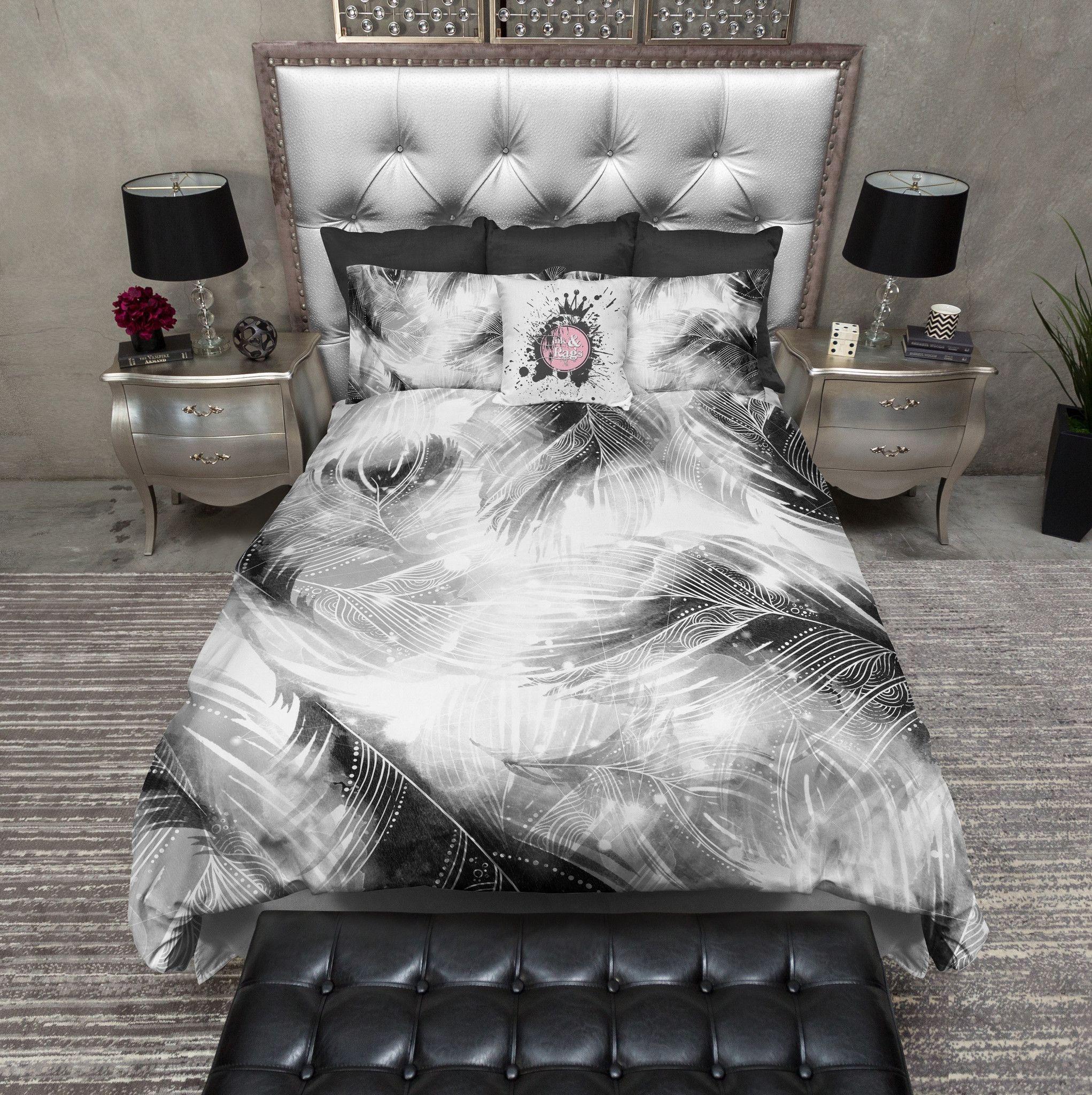 Black And White Boho Feather Bedding Duvet Bedding Sets Bedding