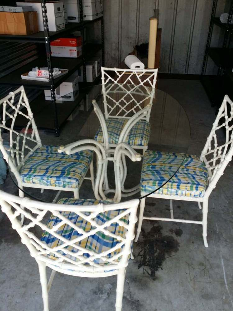 Rare Phyllis Morris Faux Bamboo White Chinese Chippendale Dining Chairs U0026  Table