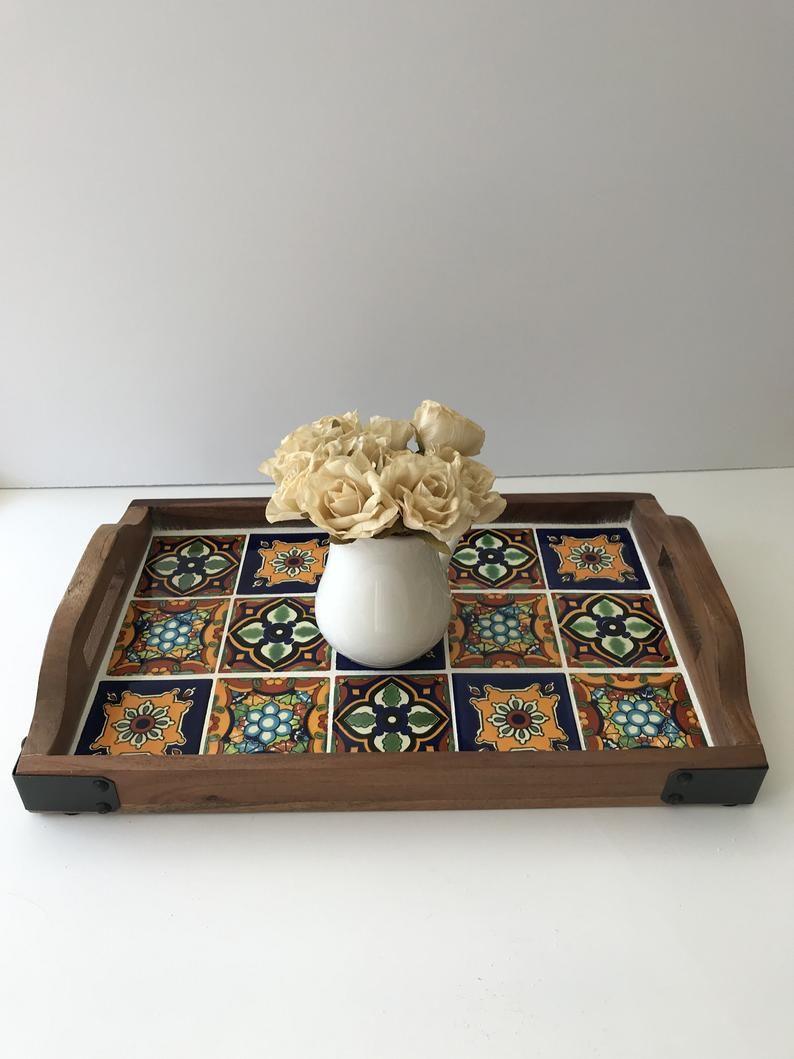 Talavera Tile Tray Wooden Serving Tray With Hand Painted Etsy Bandejas Para Festa Bandeija De Madeira Artesanato Para Cozinha [ 1059 x 794 Pixel ]