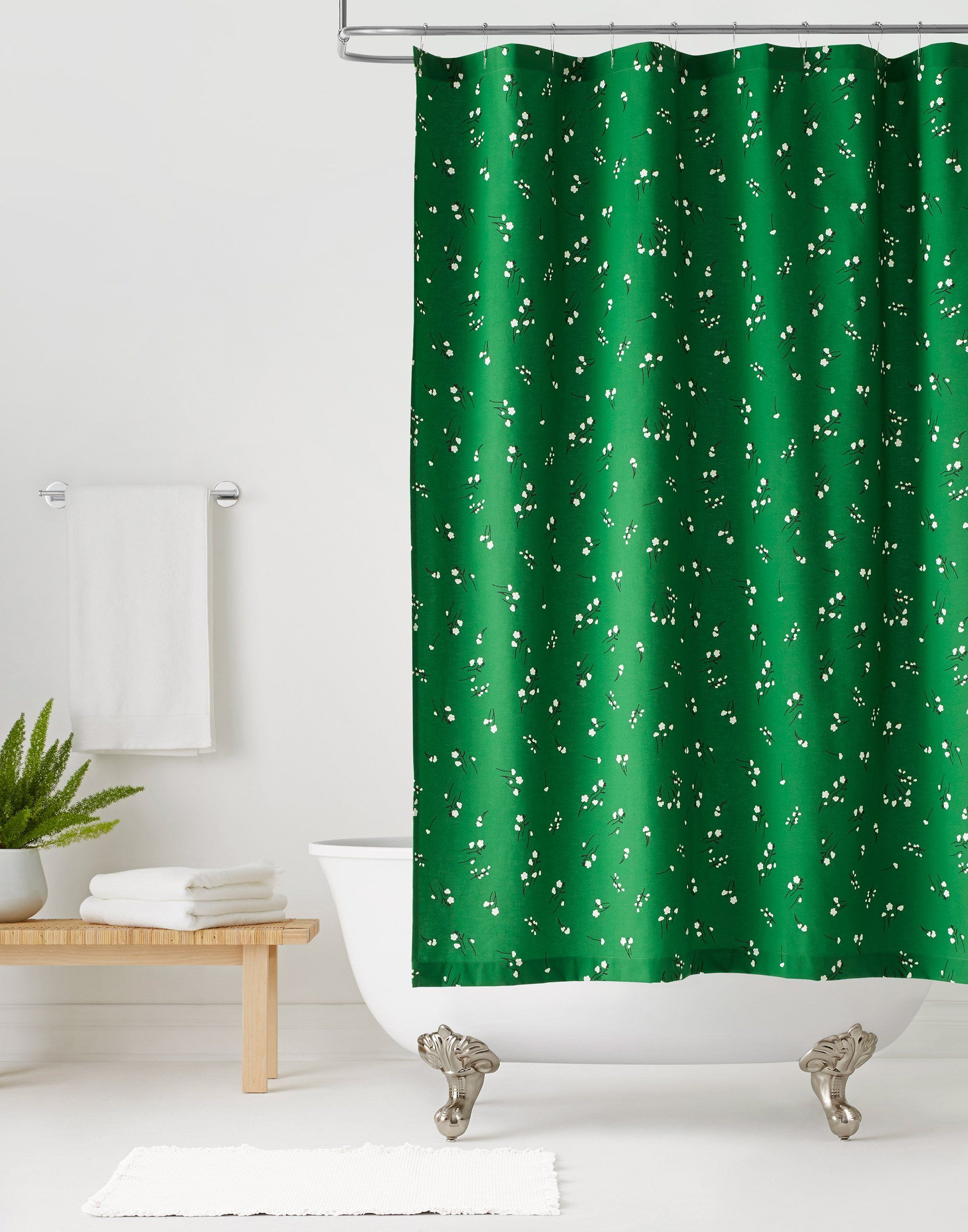 Wildflower Emerald Shower Curtain Default Title Green Shower Curtains Colorful Curtains Curtains