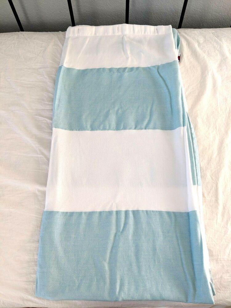 Tommy Hilfiger Shower Curtain Aqua White Cotton Blend
