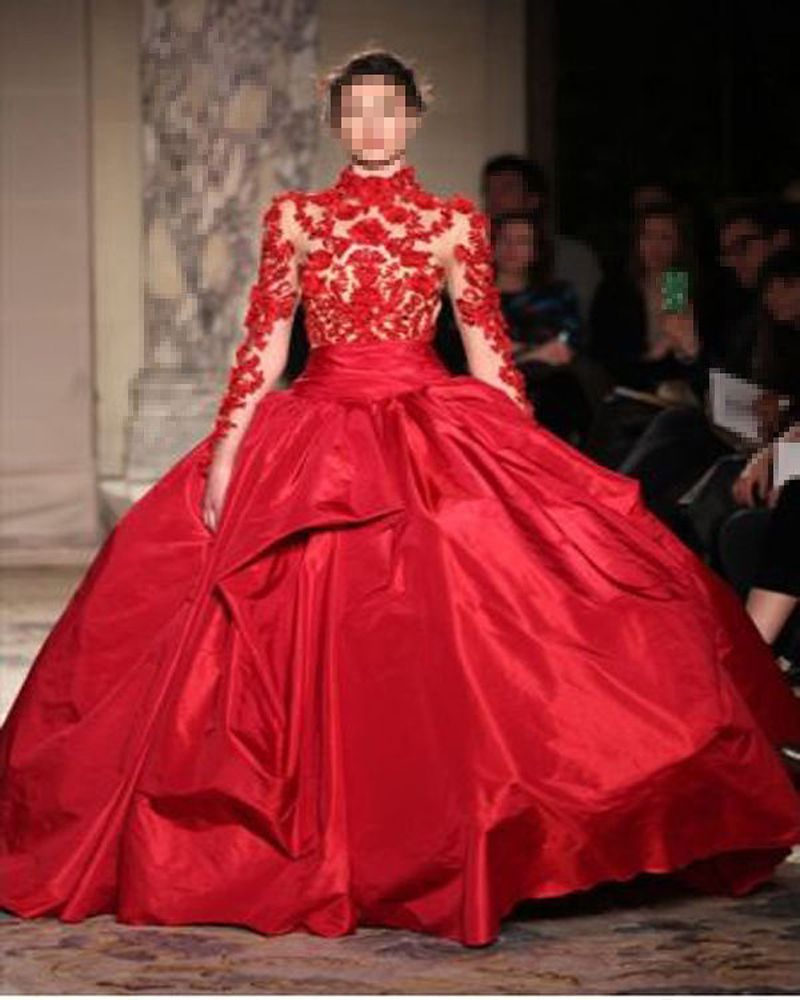 MZ Hot Red Ball Gown Taffeta Lace High Neck Quinceanera Dresses