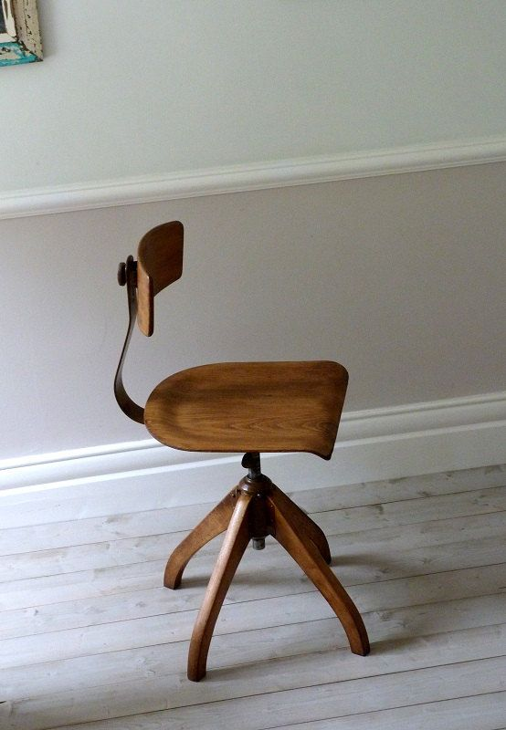 Vintage Bauhaus Oak Architects Desk Chair by