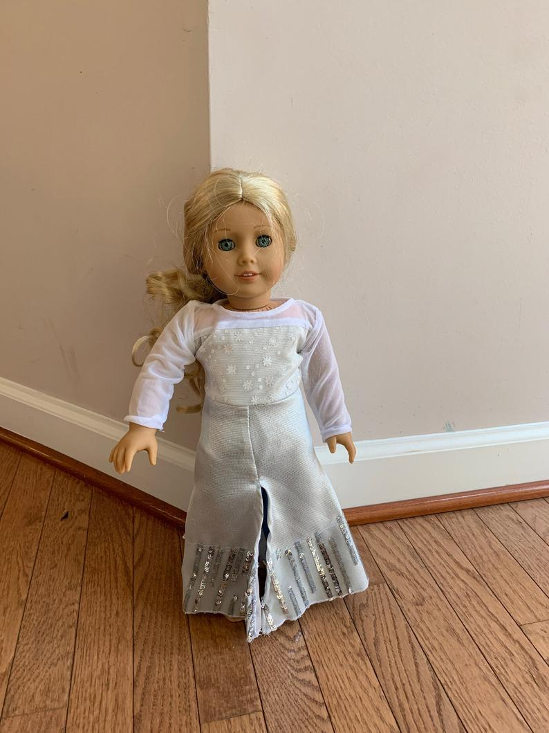 American Girl 18 Elsa Frozen 2 Or Frozen Ii Doll White Etsy In 2020 Blue Costumes Belle Blue Dress Costume Costume Outfits
