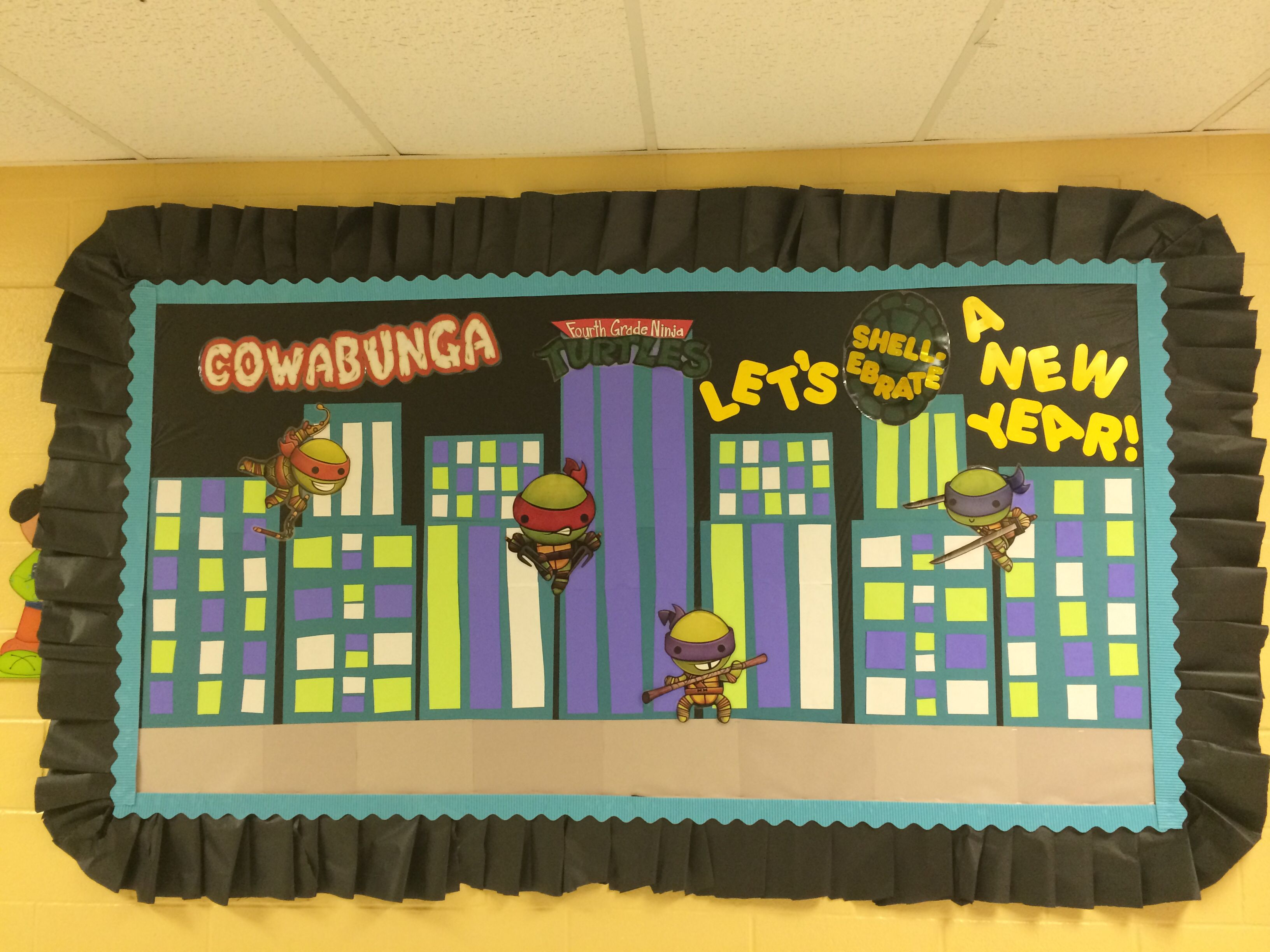 Back To School Ninja Turtle Bulletin Board Cowabunga Fourth Grade Ninja Turtles Let S Shell
