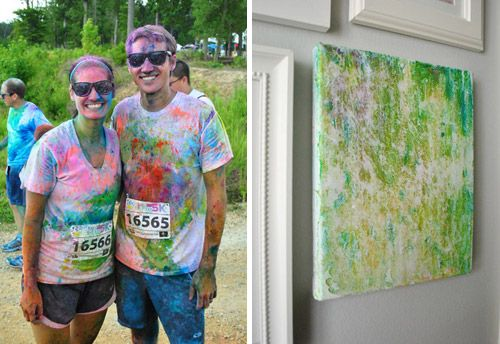 Idea from Young House Love - white t-shirt worn to color run stretched over canvas.  Cool art and memory of experience. @Kaysley Anneabelle you must do this!