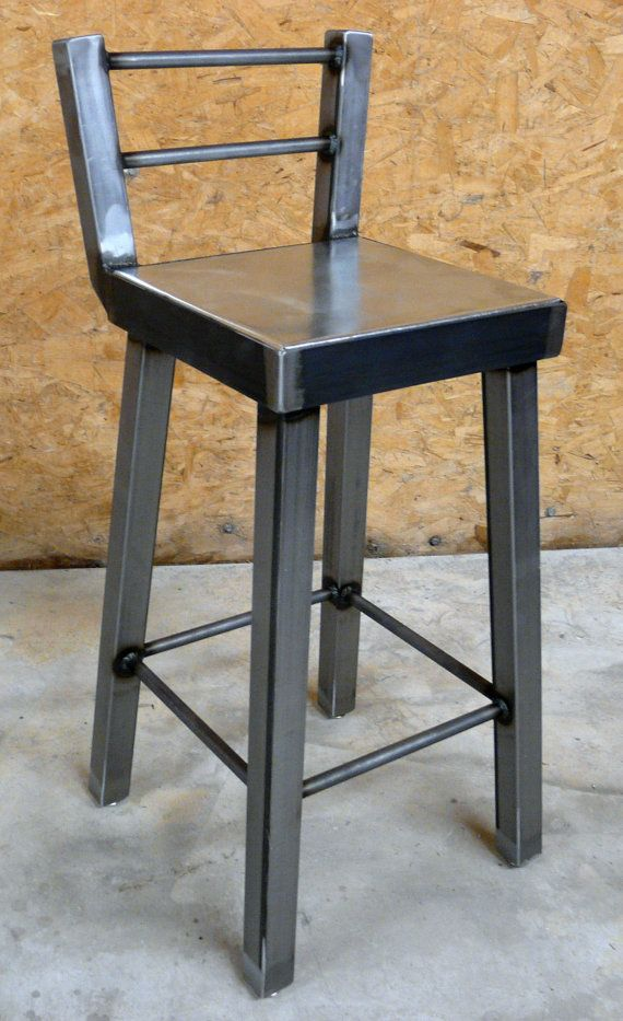 Galvanized steel and raw metal bar stool with low back by for Industrial design bar stools