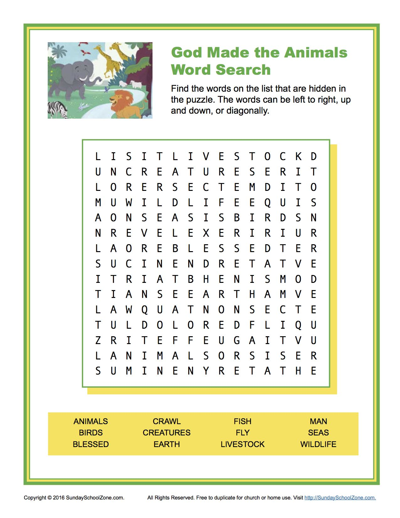 God Made The Animals Word Search