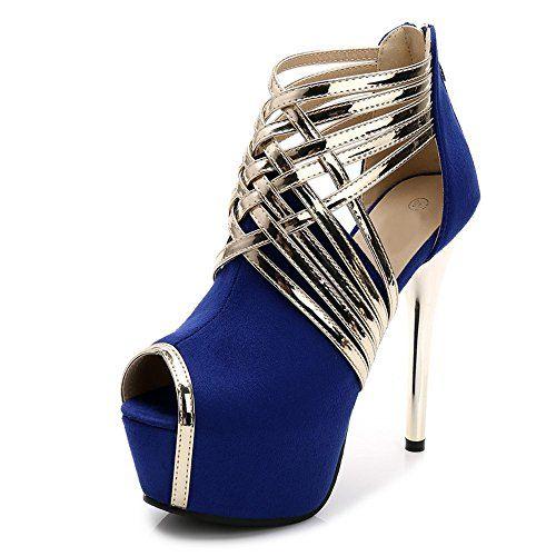 62e347ef46665c OCHENTA Femme Escarpins Sexy Tête de Poisson Plateforme 4CM Suedine Talon  Aiguille 14CM Sandales Zip Bleu
