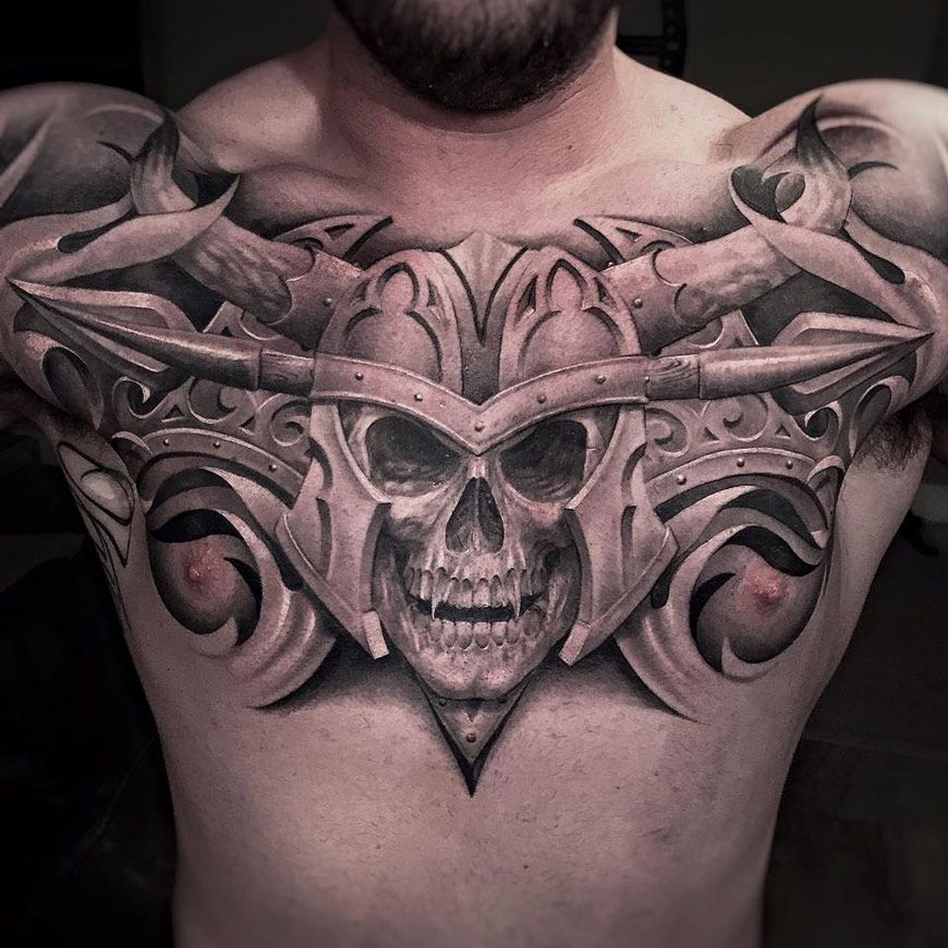 Vampire skull chest tattoo for Vampire skull tattoo
