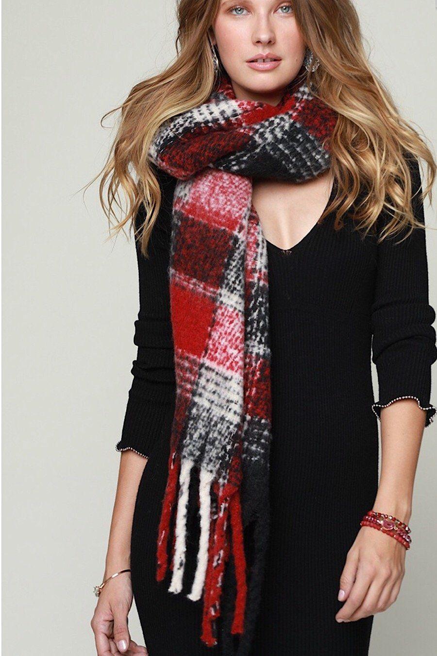 Fringe Plaid Blanket Scarf Scarf, Ways to wear a scarf