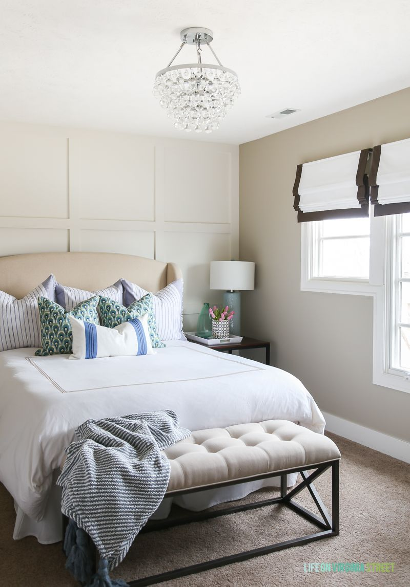 Spring Guest Bedroom: Makeover Reveal | White bedding, Green accents