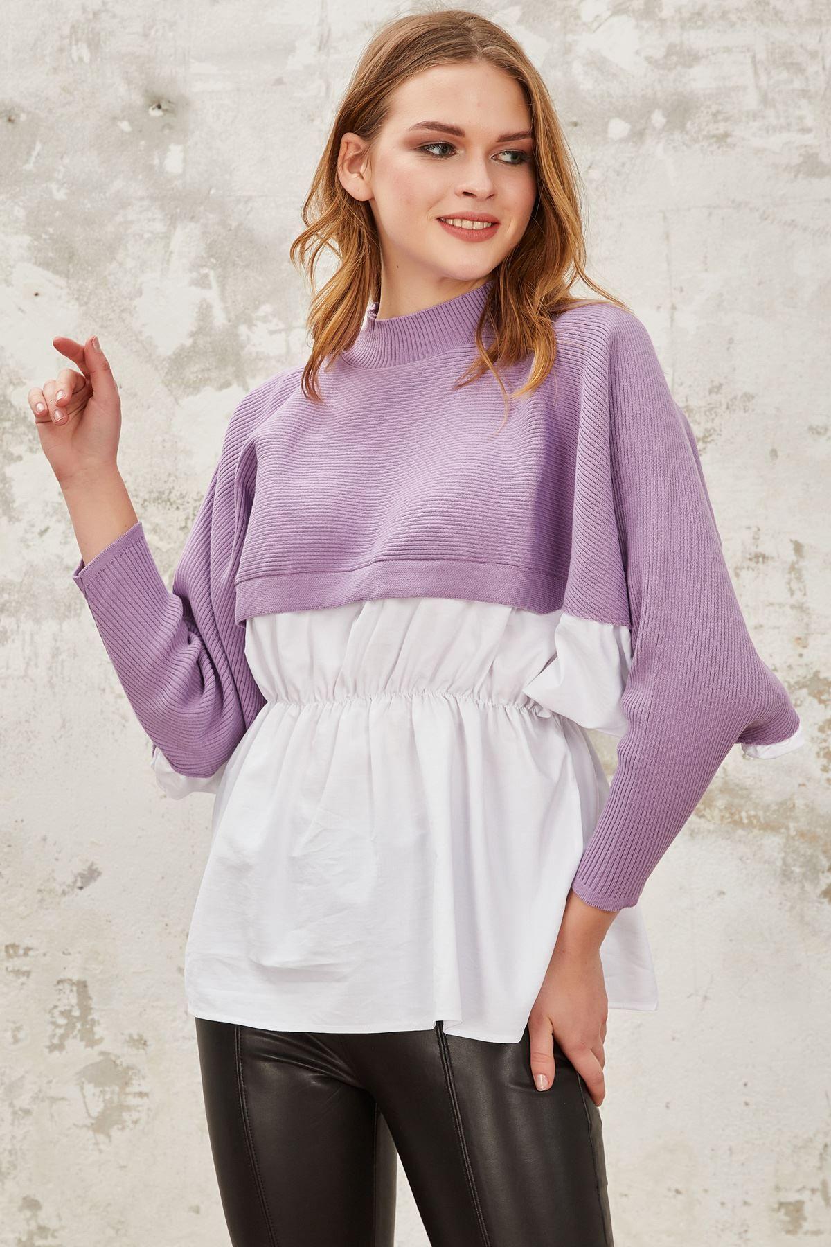 بلوزة محبوكة بتصميم نصف قميص لون ليلكي