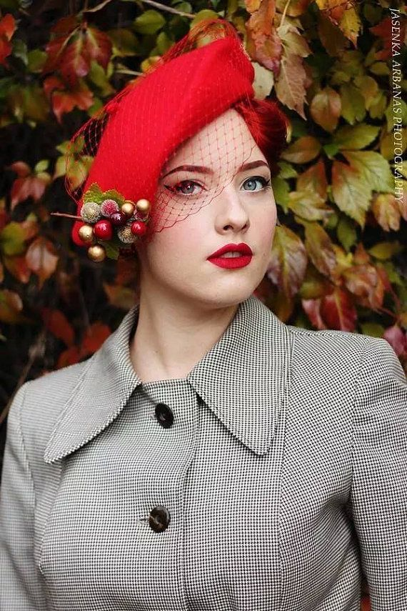Rock Rockabilly Red Wool Christmas Beret Hat With Frosted Winter Berries Veil Birdcage Red Wool Wool Berets Turban Headwrap