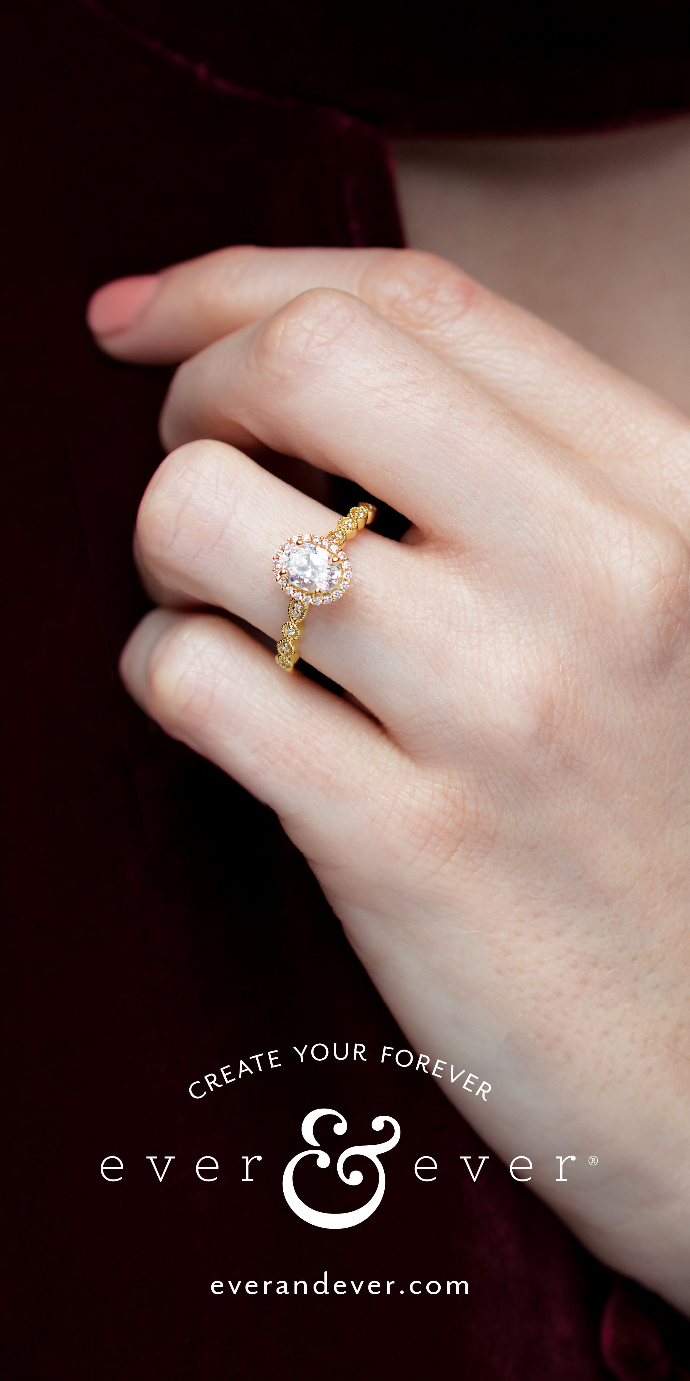 d8427602077c4 Vintage-Inspired Halo-Style Diamond Engagement Ring | ever&ever ...