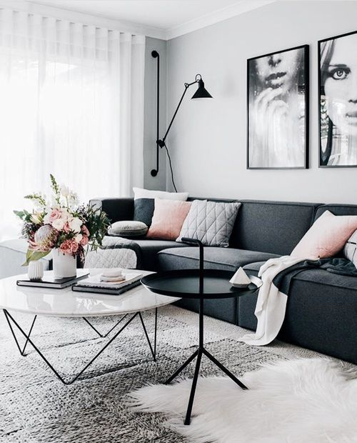 #livingroomhomedecor Dark Sofa Living Room, Dark Couch, Dark Grey Sofas,  Living Room