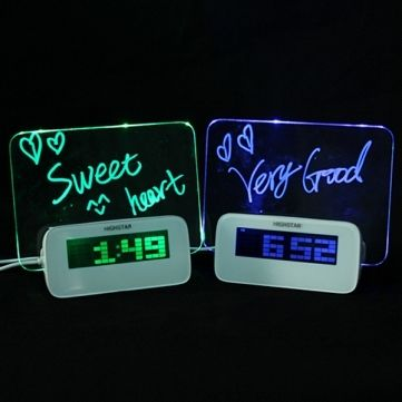 This+is+LED+fluorescent+luminous+message+board+alarm+clock+4+Port+USB+hub You+can+write+any+words+on+the+board+what+you+like. Digital+clock+has+a+LED+light+message+board+with+a+highlighter. At+night,+you+can+read+the+words+on+the+LED+luminous+screen+board. You+can+switch+the+time,+date,+tempe...