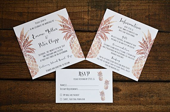 Tropical Pineapple Wedding Invitation, Information Card & RSVP ~ Metallic Copper ~ PDF