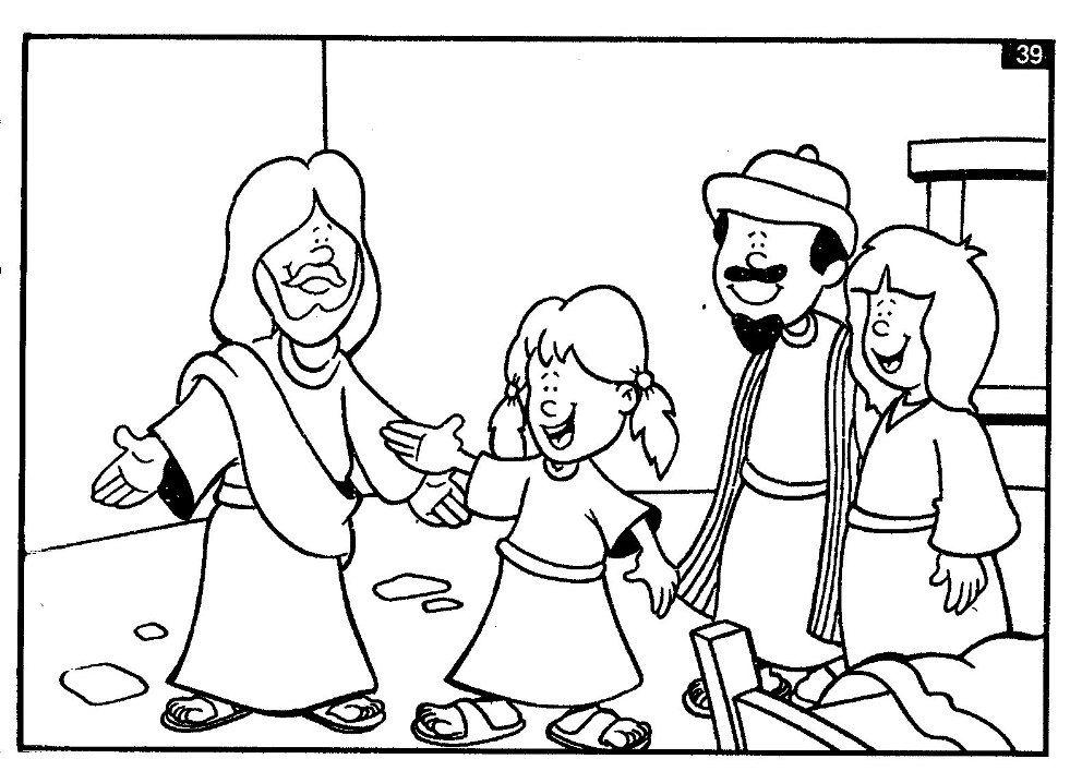 jesus raises jairus 39 s daughter from the dead coloring kid 39 s bible class pinterest sunday. Black Bedroom Furniture Sets. Home Design Ideas