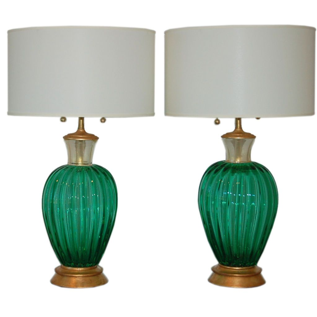 Archimede Seguso Vintage Murano Lamps In Emerald Green 1stdibs Com Green Lamp Lamp Vintage Table Lamp
