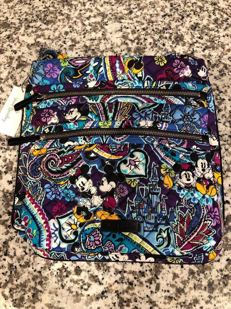 12e0c73157 Disney Springs Vera Bradley Mickey Paisley Celebration Triple Zip Crossbody  Bag  Disneyana  Disney  WaltDisney