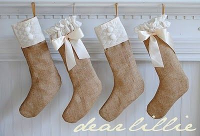 sweet burlap stockings for the girls, maybe in my room on the fireplace?