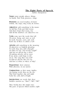 This is a fun, rhyming poem that explains the eight basic parts of ...