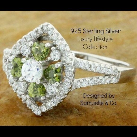 .925 Sterling Silver, Peridot & White Topaz Ring LUXURY-LIFESTYLE Collection By Samuelle & Co. is Designed in the United States.   This beautiful ring contains 1.25ctw of Peridot & White Topaz which are flawlessly set in .925 Sterling Silver with a Platinum Overlay. This truly shows the stunning quality and craftsmanship.   Total weight for this Ring is 3.1 grams. Samuelle And Co. Jewelry Rings