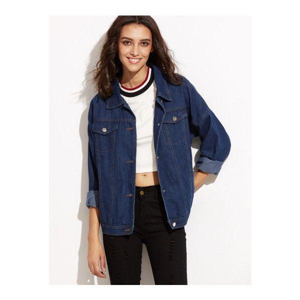 9fe23347db SheIn(sheinside) Blue Drop Shoulder Boyfriend Denim Jacket (6.905 HUF) ❤  liked on Polyvore featuring outerwear, jackets, blue, blue denim jacket, ...