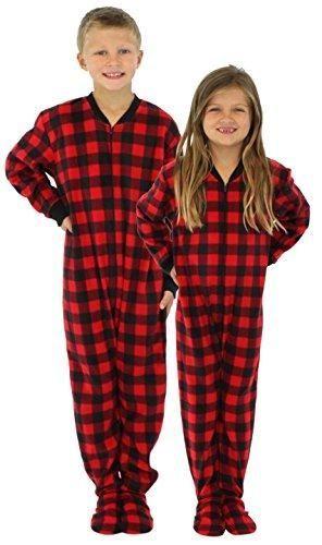 77e2193206 SleepytimePjs Family Matching Red Plaid Fleece Onesie PJs Footed Pajamas