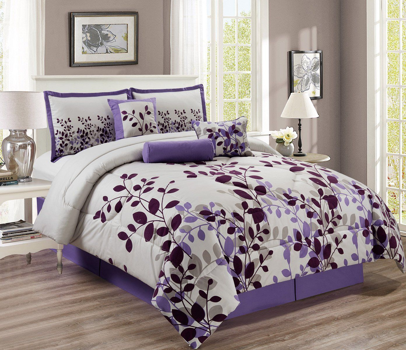 7 Piece Purple Lavender Grey Flocking Comforter Set Vine Bed In