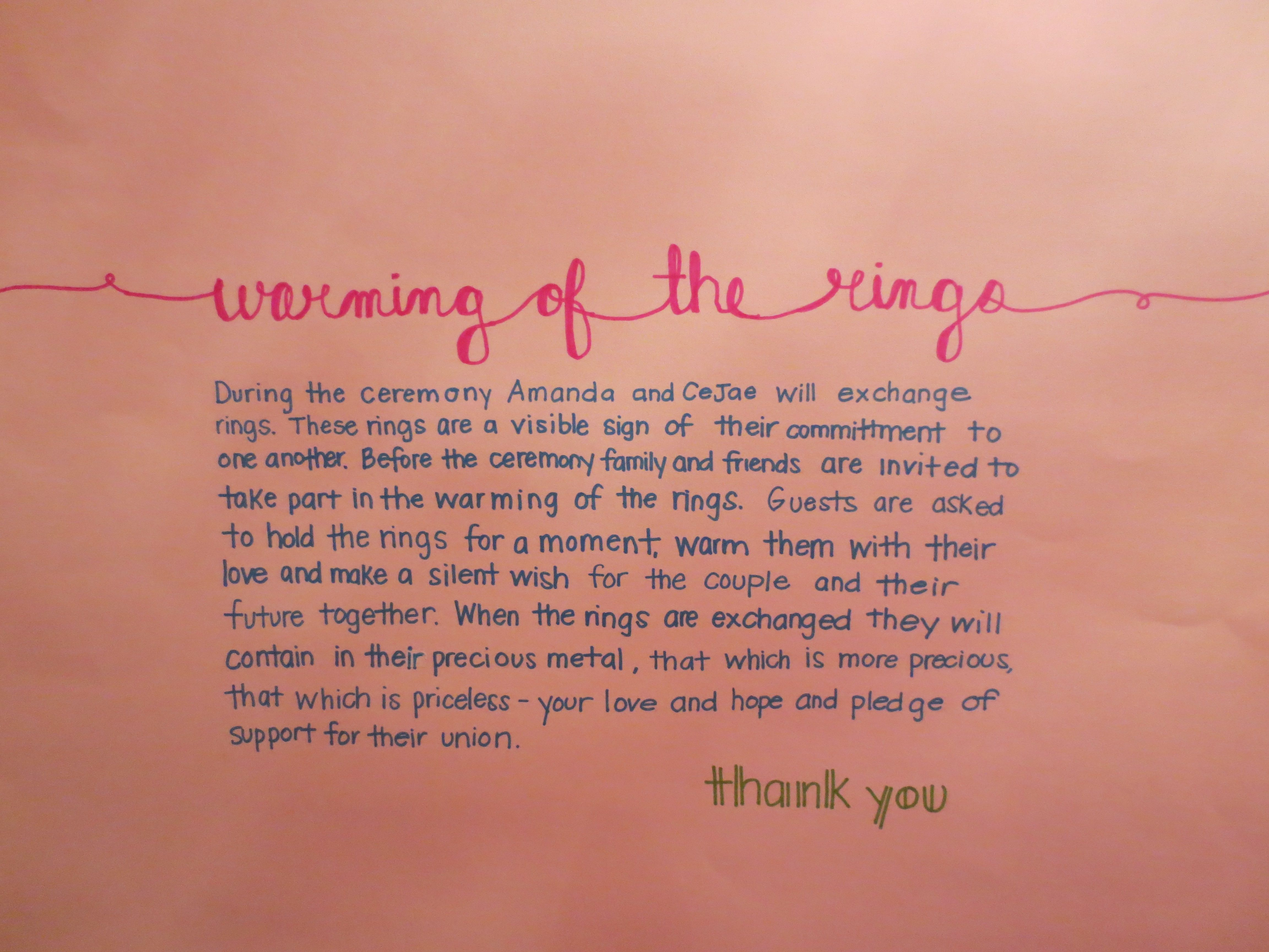 Ring warming ceremony; Wedding program alternative. Transformed a ...