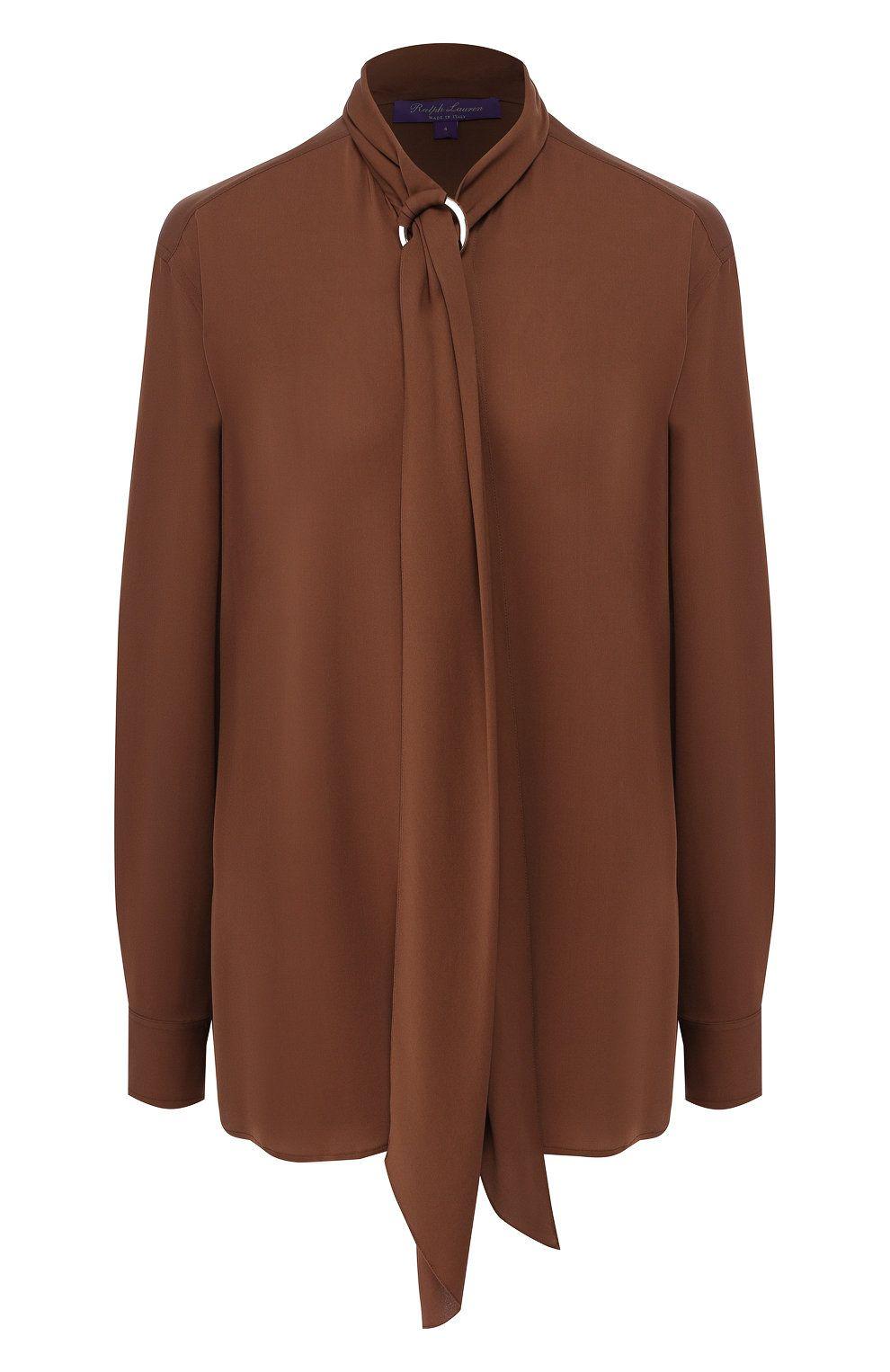 Женская коричневая шелковая блузка RALPH LAUREN — купить ...