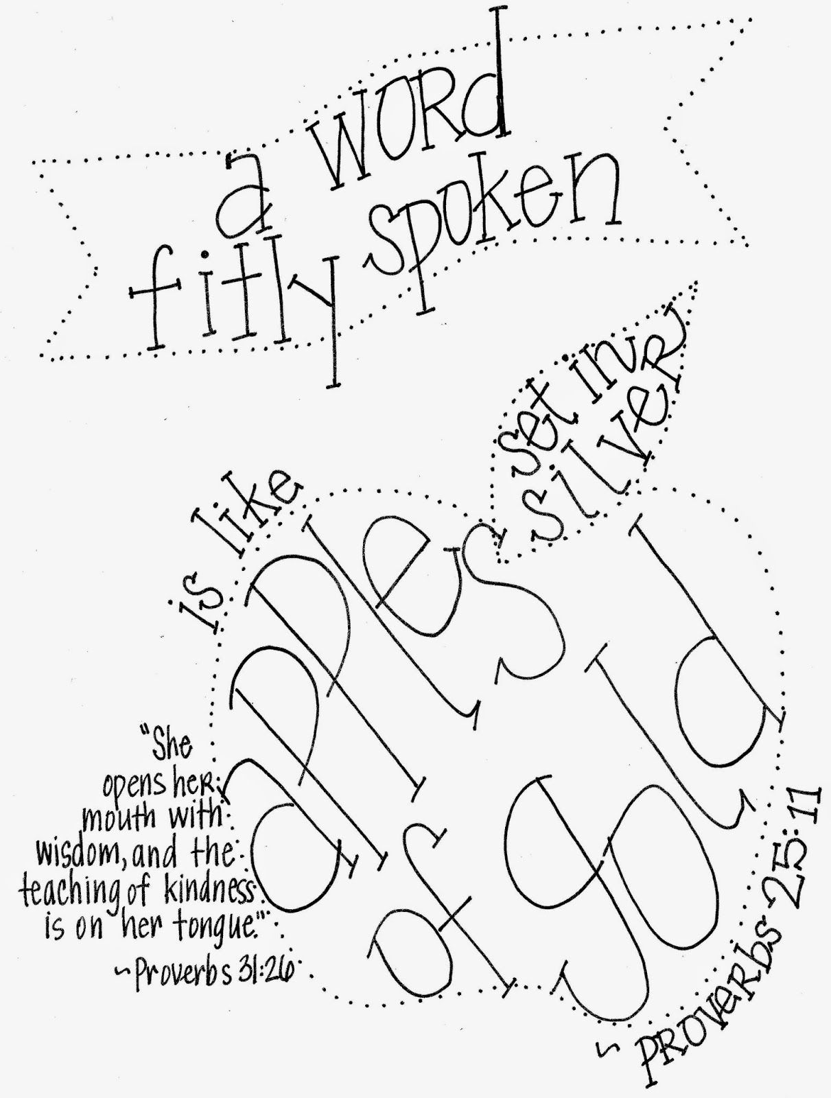 Scripture Printable For A Word Fitly Spoken Is Like