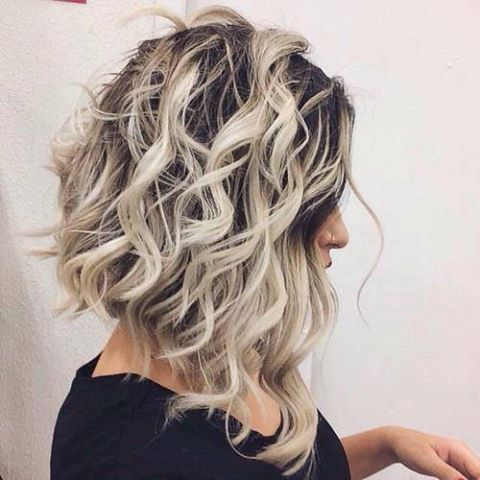 curly long bob cut \u2026