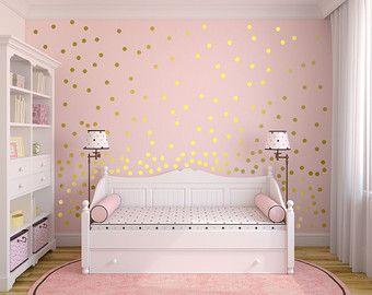 Decoraci n de la pared de oro pared calcoman as lunares for Calcomanias para dormitorios