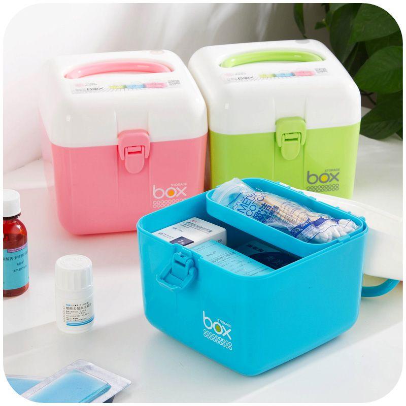 Nice Candy Colored Household Medicine Box Portable Storage Box First Aid Kit  Drugsu2026