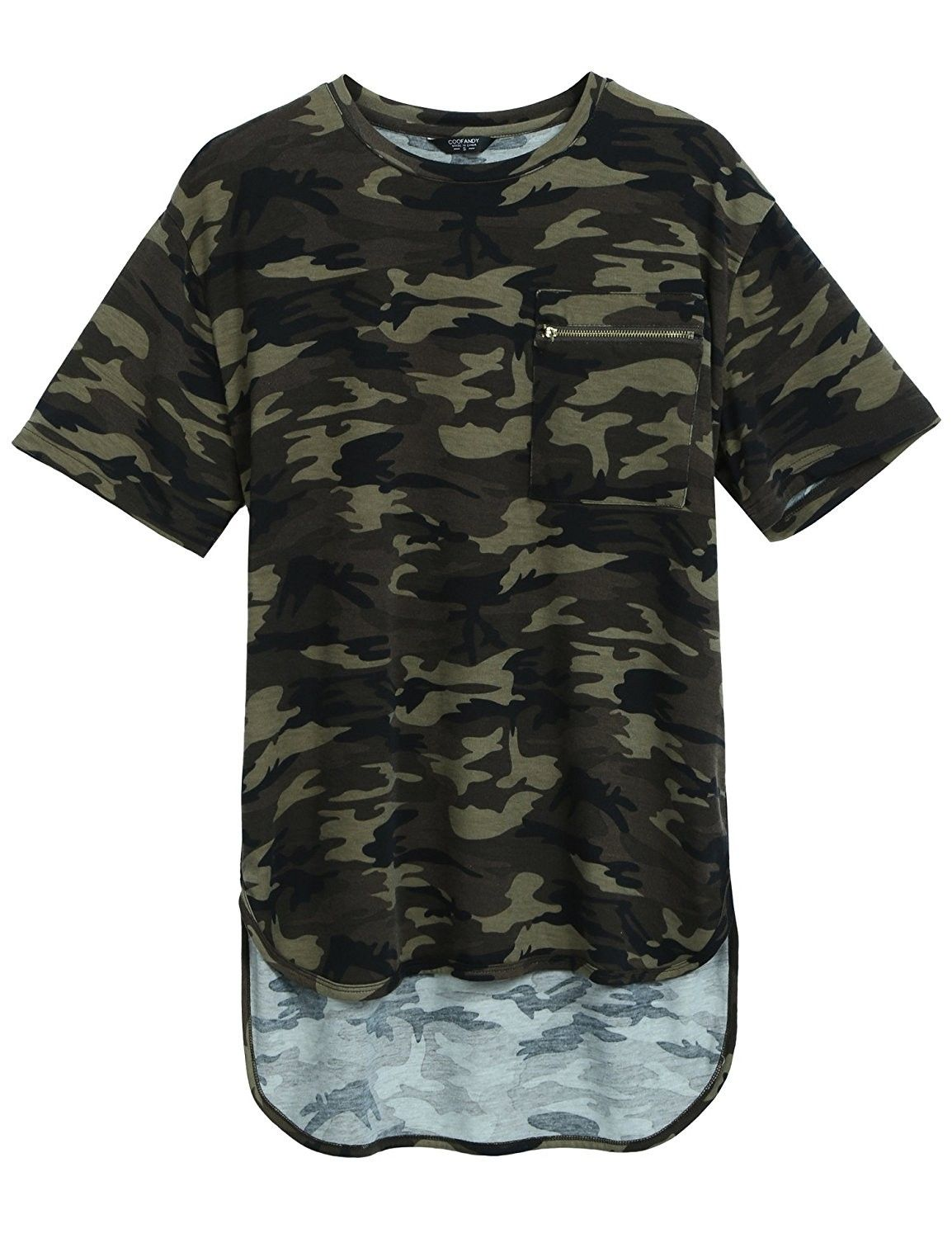 a85df8461a9b Mens Summer Hipster Hip Hop Camo-Camouflage T Shirts Longline Tee With  Zipper Pocket - Army Green - CL183EZZT4R,Men's Clothing, T-Shirts & Tanks,  ...
