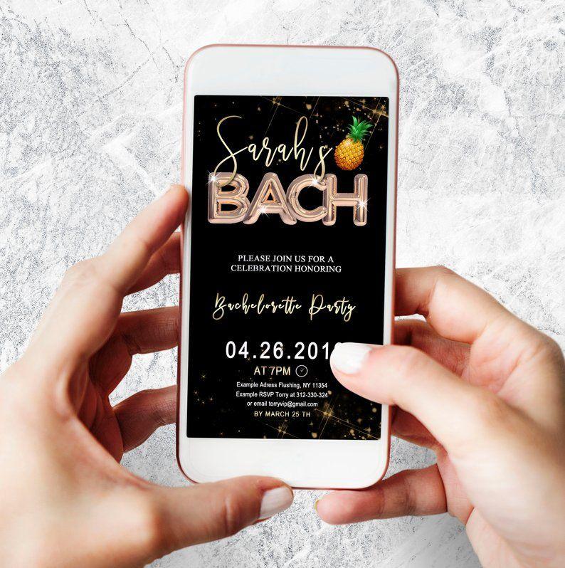 Electronic bachelorette invitation pineaplle bach invite