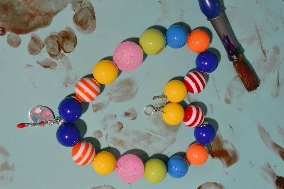 Paint Party Chunky Bubblegum Bead Necklace- Baby Girl Necklace- Toddler Girl Necklace- Kids Jewelry