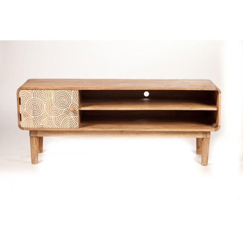 meuble tv scandinave allure discr te en bois de manguier massif meubles en bois imprim. Black Bedroom Furniture Sets. Home Design Ideas