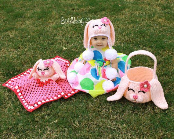 Crochet Bunny Hat, Basket & Lovey Patterns (PDF FILE-Combo pack ...