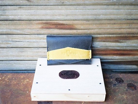 Distressed Grey Leather Wallet Card holder hand by ArtNotebooks, $25.00