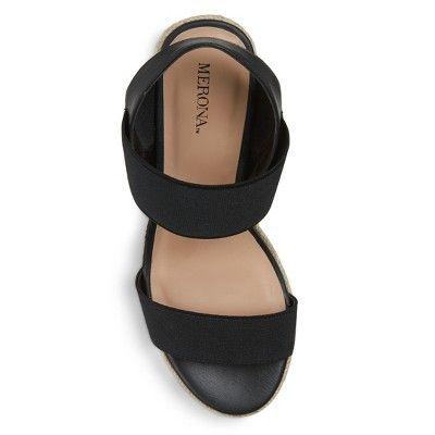 1a5fe4f733 Women's Janet Wide Width Elastic Espadrille Wedge Sandals Merona - Black 5.5