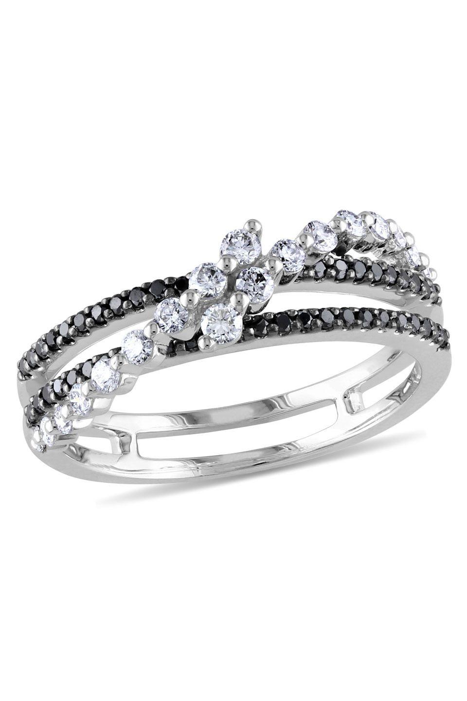 0.5 CT Black  White Diamond Fashion Ring In 14k White Gold