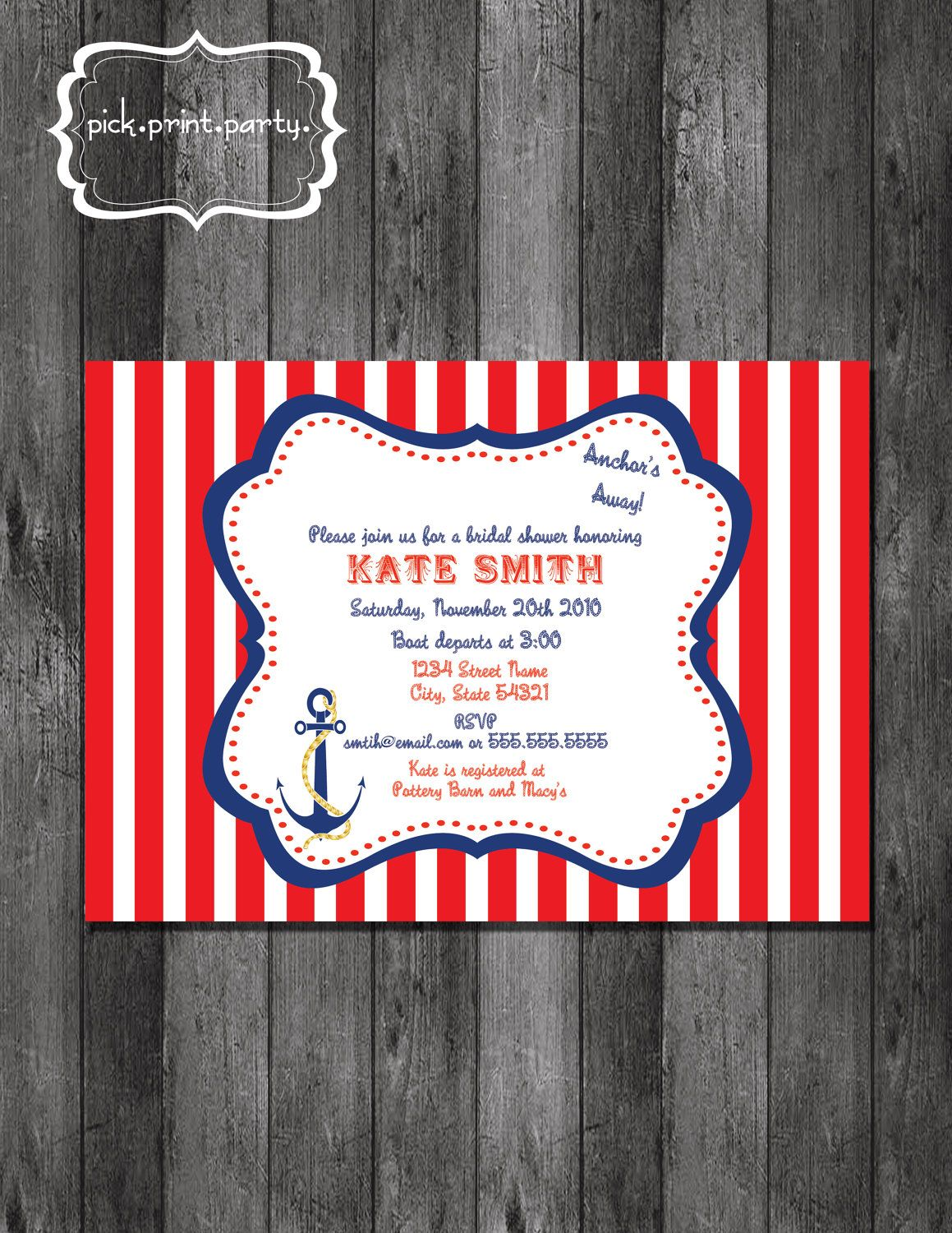 Nautical Theme Bridal Shower Invitation - DIY - Printable. $12.00 ...