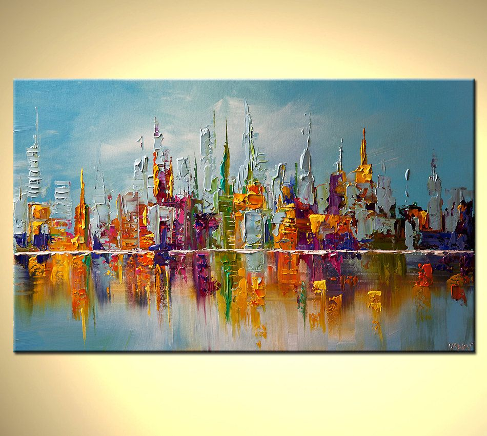 Large Framed Wall Art New York City Landscape Sunset: Original Abstract Painting City Shoreline Reflection