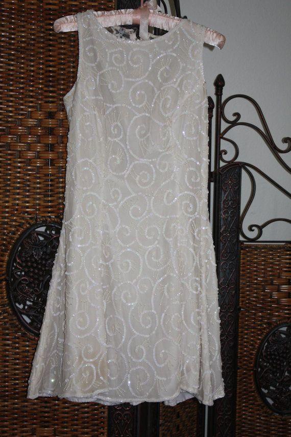 Beaded / sequined/ silk dress by ellestrunkshow on Etsy, $55.00