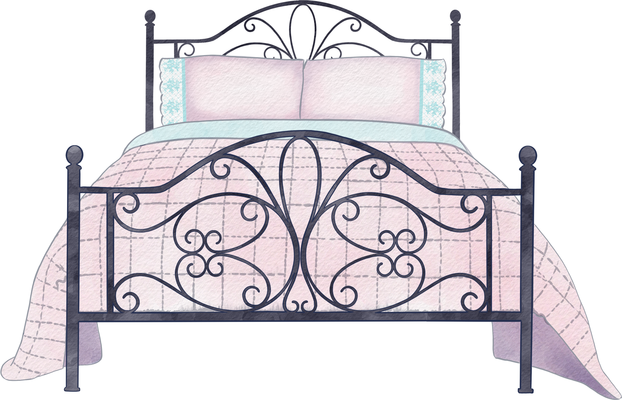 #bed #doublebed #kingsizebed #metalbed #quilt #pillow #bedroom #sleep #snooze #relax #freetoedit #remixit
