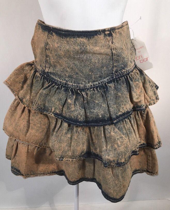 9bea82bb3 Vintage 80's High Waist Denim Tiered Ruffle Skirt 7 #JoniBlair ...